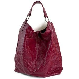Hobo International Pink Red Crinkled Patent Tote